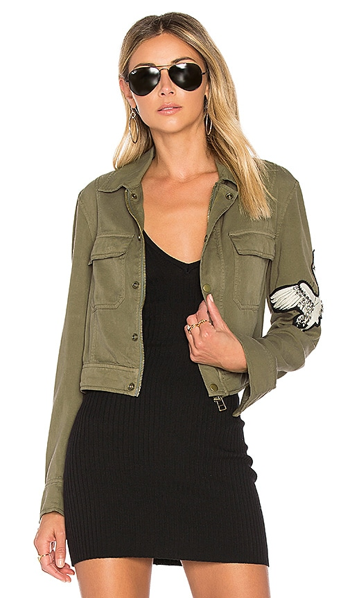 Pam & Gela Crane Cargo Jacket in Army