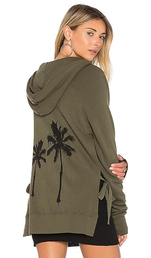 Pam & Gela Palm Zip Hoodie in Olive