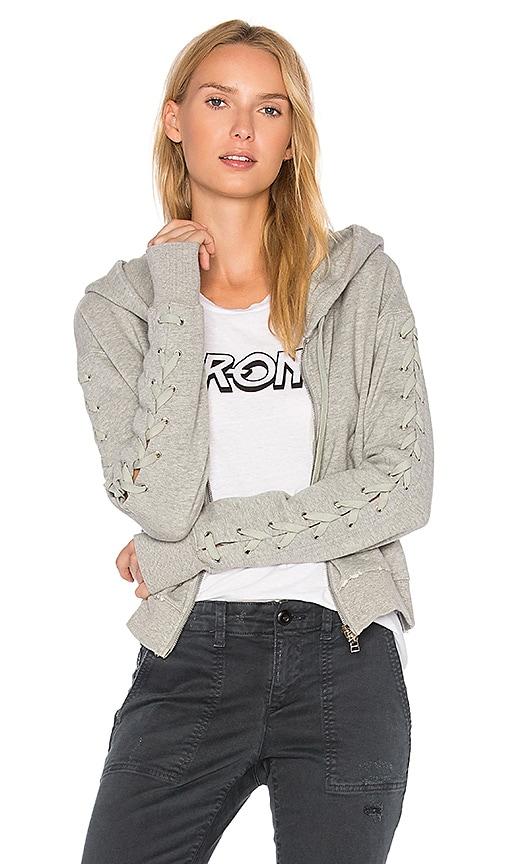 Pam & Gela Lace Up Sweatshirt in Gray