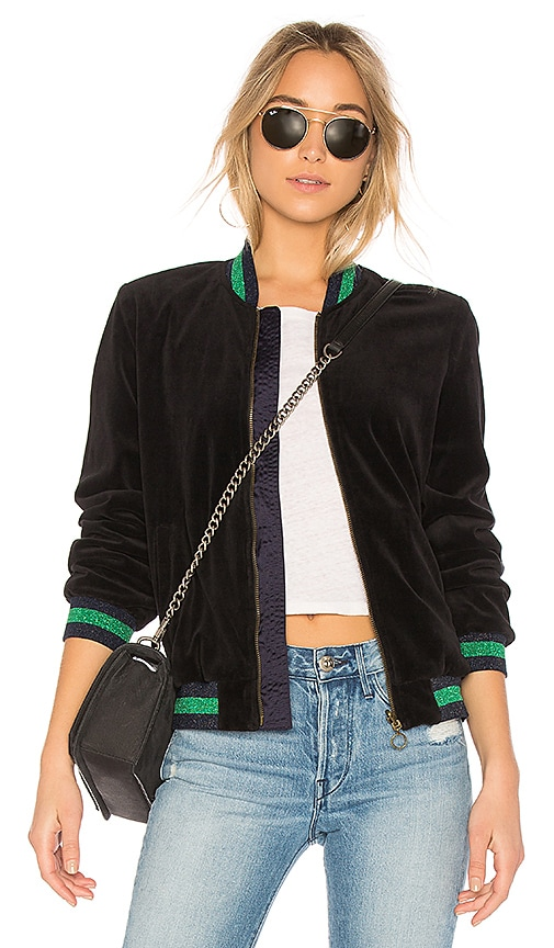 Pam & Gela Reversible Velour Bomber in Black