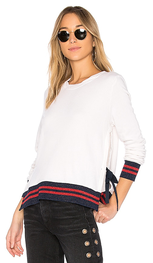 Pam & Gela Side Slit Sweatshirt in White