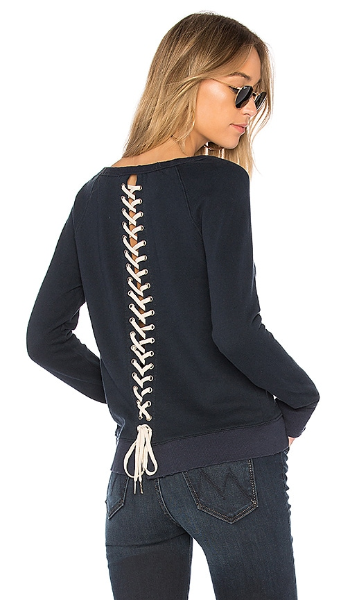 Pam & Gela Lace Up Sweatshirt in Navy