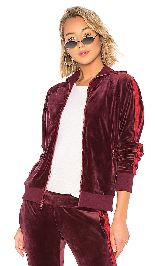 Pam   Gela x REVOLVE Collared Velour Track Jacket in Bordeaux  13edcb068b1dd