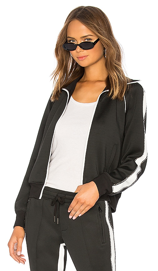 Rhinestone Racing Stripe Track Jacket