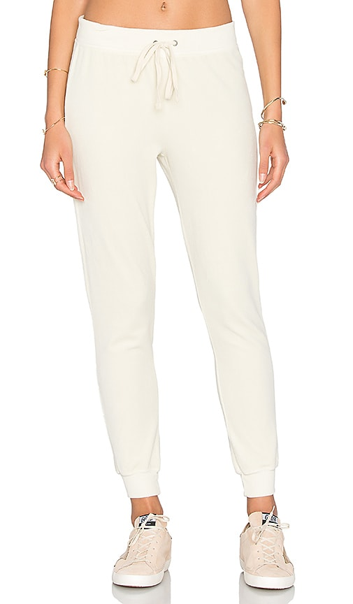 Pam & Gela Velour Betsee Sweat Pant in Beige