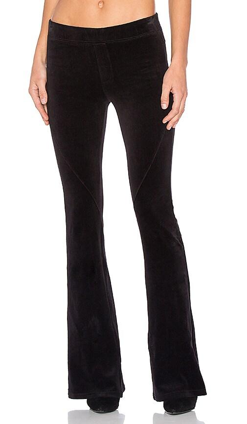 Pam & Gela Slim Flare Velour Pant in Black