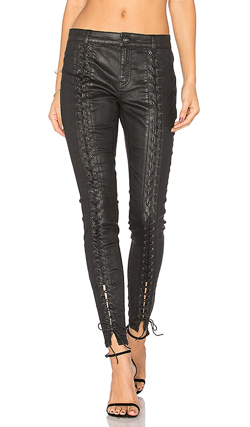Pam & Gela Coated Sateen Lace Up Pant in Black