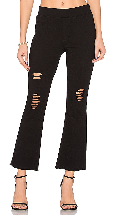 Pam & Gela Cropped Flare Pant in Black