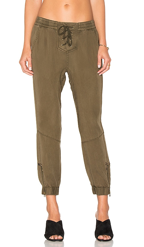 Pam & Gela Lace Up Closure Pant in Army
