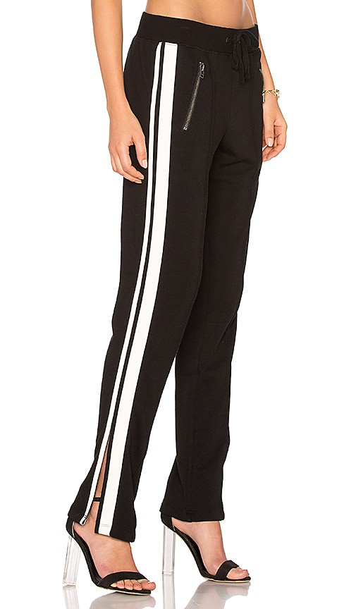 Pam & Gela Zippered Pant With Side Stripes in Black