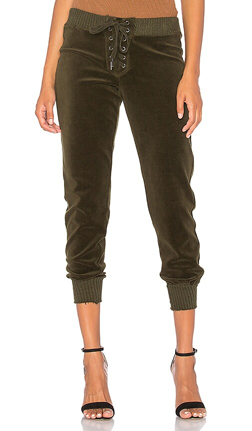 Pam & Gela Cropped Sweatpant in Green