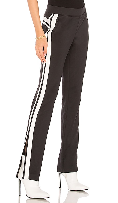Pam & Gela Side Split Pant in Black & White