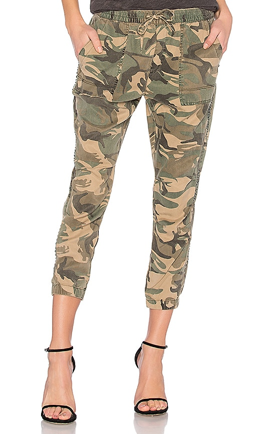 Pam & Gela Studded Camo Pant in Green