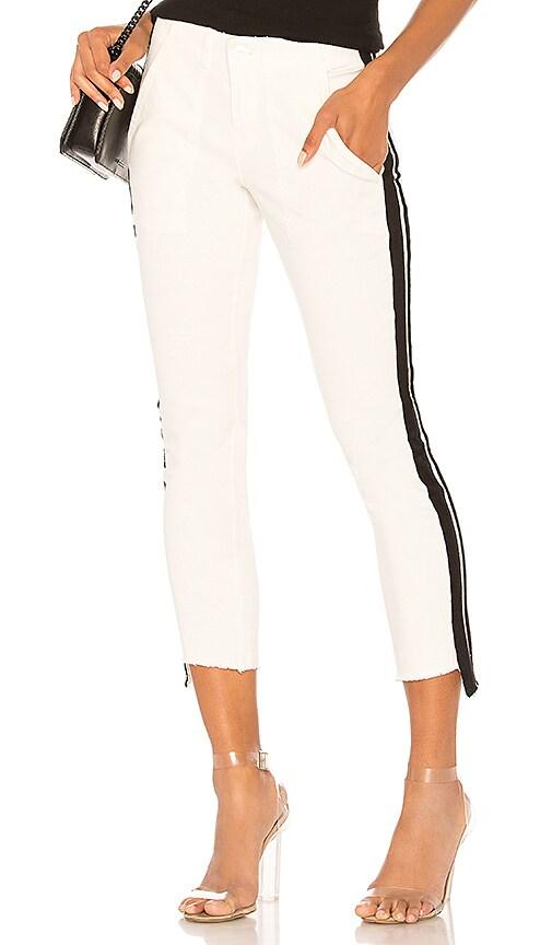 Pam & Gela Side Stripe Off Set Skinny Pant in White