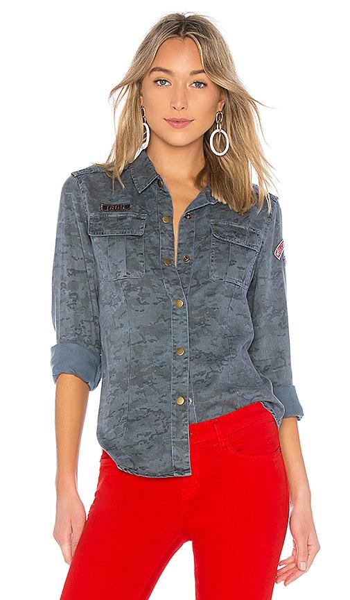 Pam & Gela Printed Camo Shirt in Slate