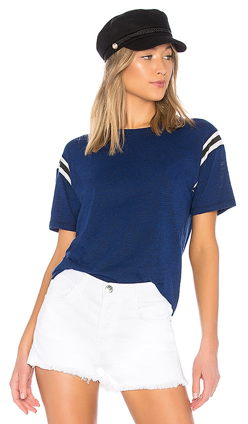Pam & Gela Football Stripe Short Sleeve Tee in Blue