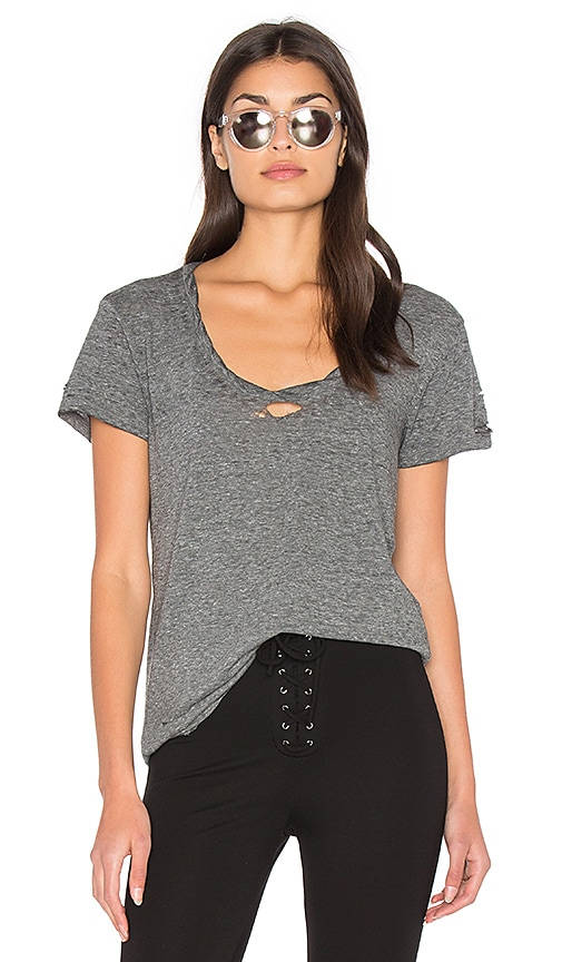Pam & Gela Destroyed Scoop Neck Tee in Gray