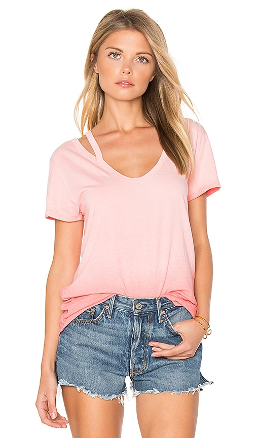 Pam & Gela Split V Neck Tee in Pink