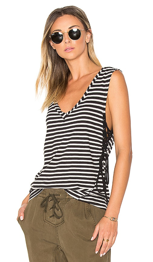 Pam & Gela Striped Lace Up Tank in Black & White