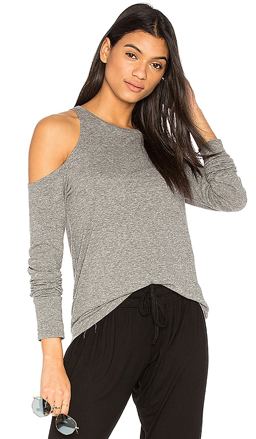 Pam & Gela Shoulder Cutout Tee in Gray