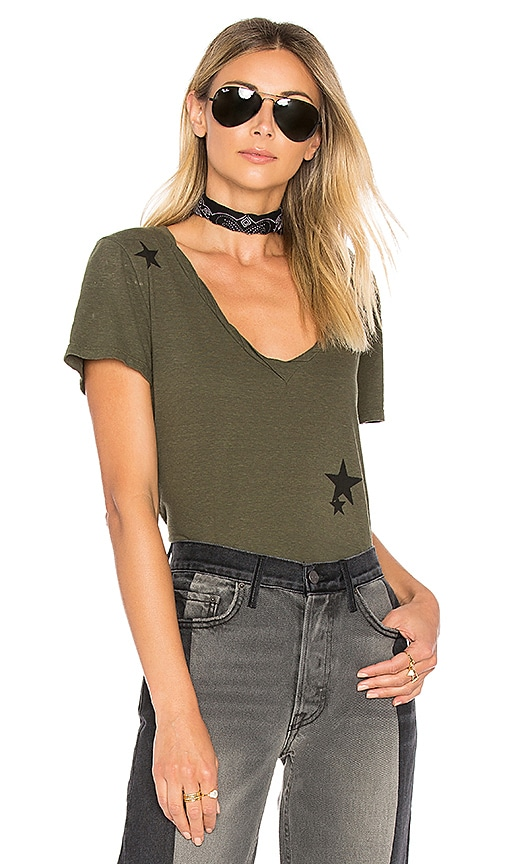Pam & Gela V Neck Offset Tee in Olive