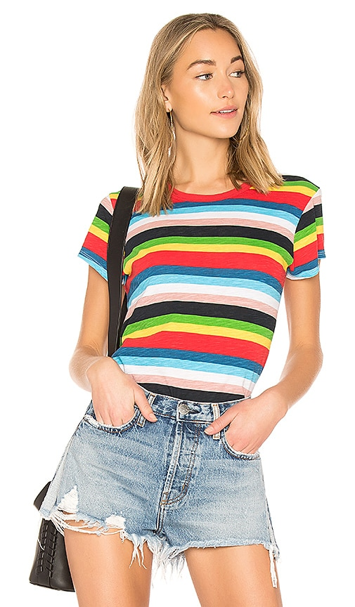 Pam & Gela Rainbow Stripe Tee in Red