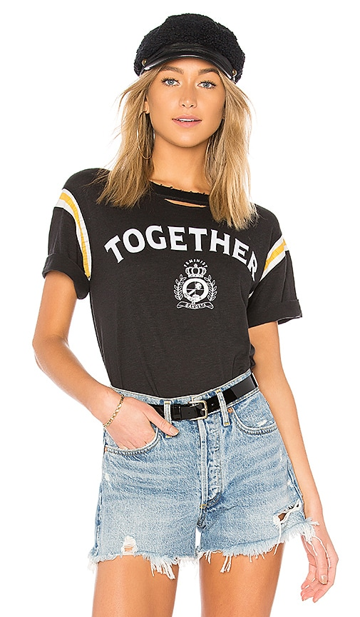 Pam & Gela Football Stripe Short Sleeve Tee in Black