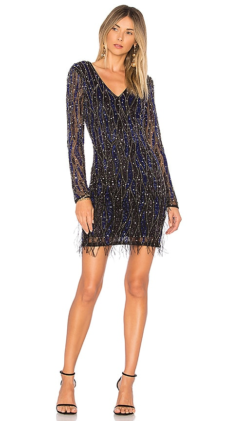 Parker Black Gia Embellished Feather Dress in Black
