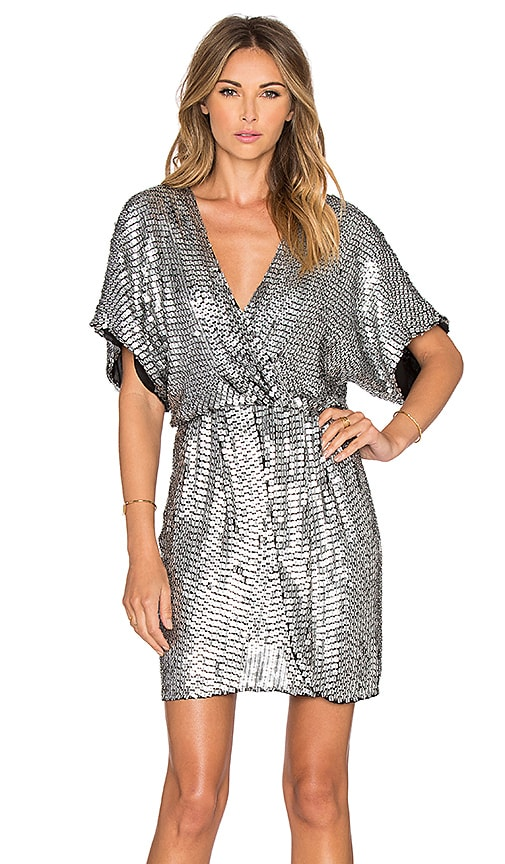 Parker Black Nole Dress in Metallic Silver