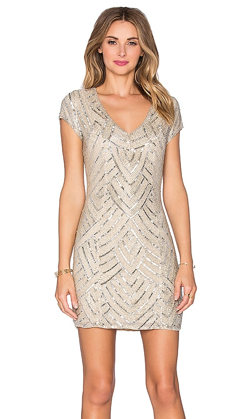 Parker Black Serena Embellished Dress in Beige