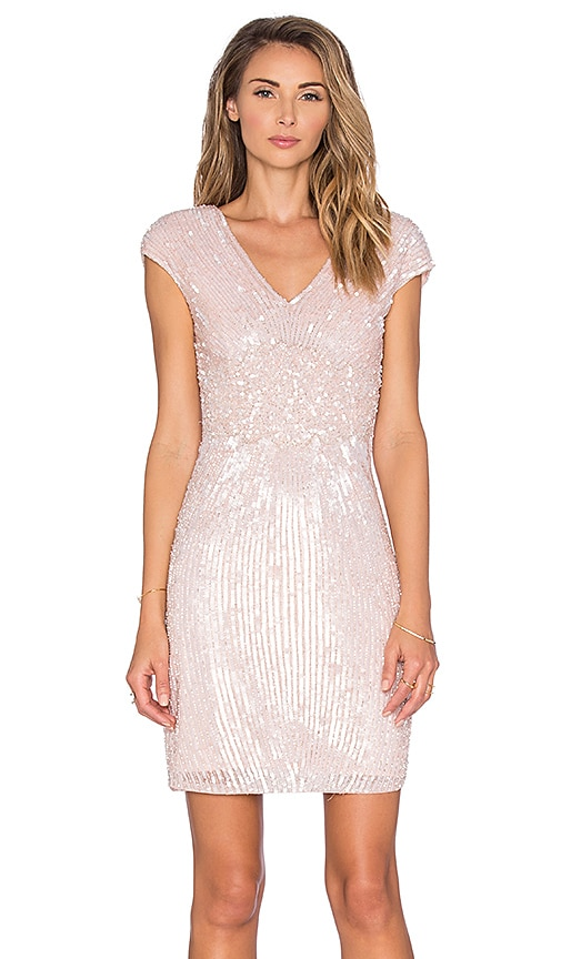 Parker Black Jessie Embellished Dress in Blush