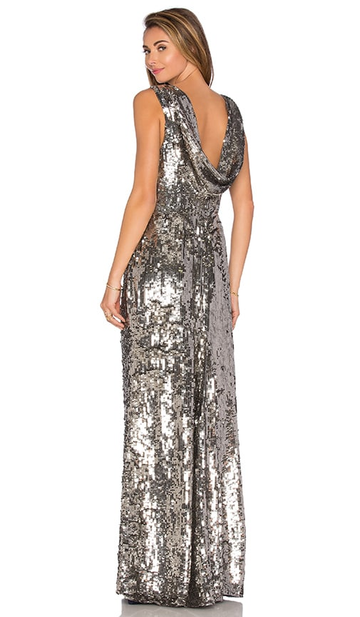 Parker Black Tatiane Sequin Dress in Metallic Silver