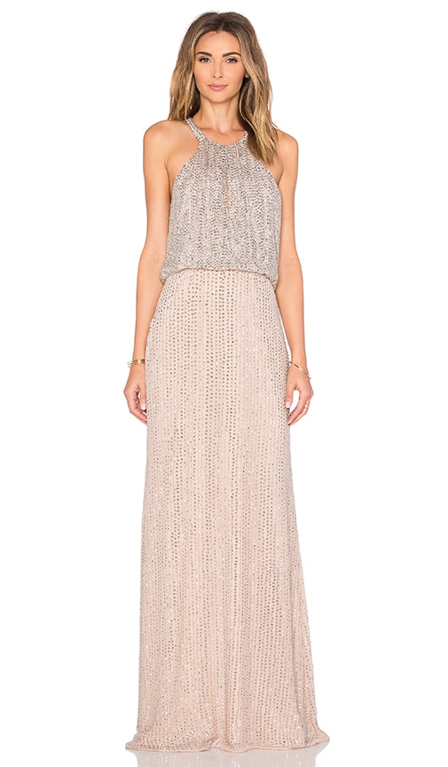 Parker Black Marceline Embellished Dress in Beige