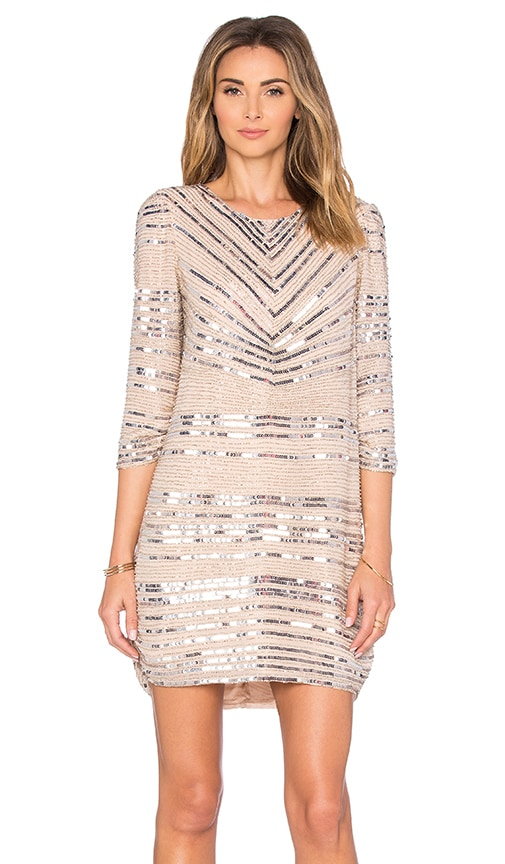 Parker Black Petra Embellished Dress in Beige