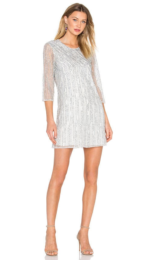 Parker Black Petra Embellished Dress in Metallic Silver