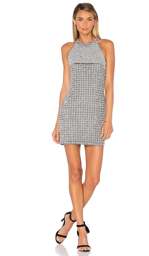 Parker Black Klum Embellished Dress in Metallic Silver