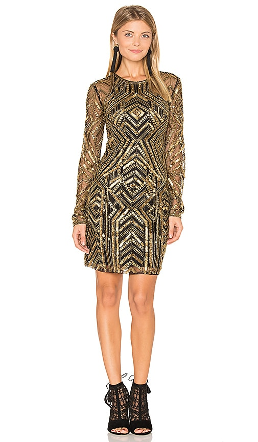 Parker Black Isabelle Dress in Metallic Gold