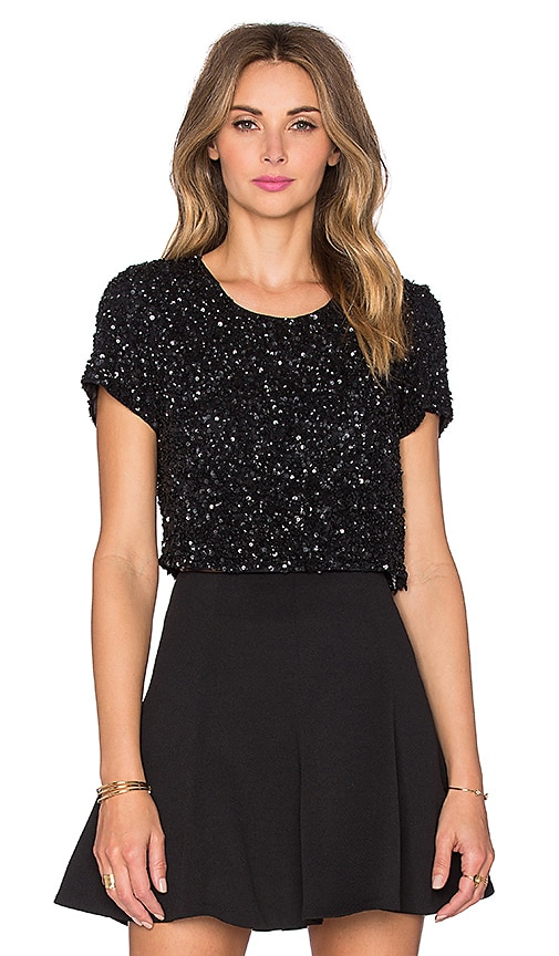 Parker Black Chrissy Embellished Top in Black
