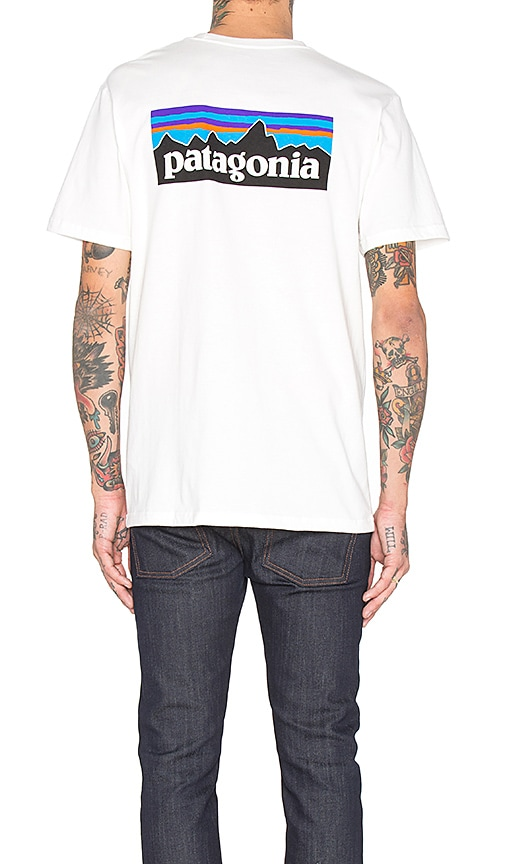 Patagonia P-6 Logo Pocket Tee in White