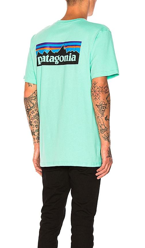 98811454812 Patagonia P-6 Logo Pocket Tee in Galah Green