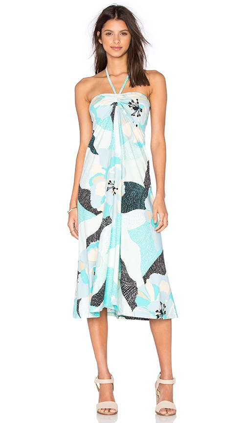 Patagonia Kamala Dress in Hibiscus Field Howling Turquoise