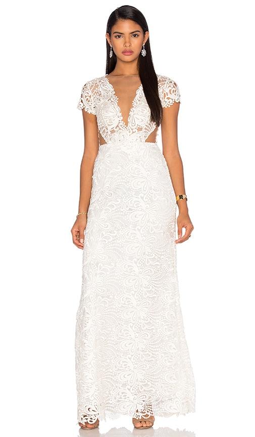 Patricia Bonaldi Deep V Lace Gown in White