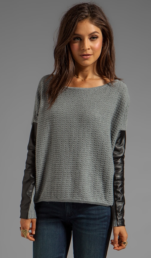 Leather Sleeve Pullover Sweater