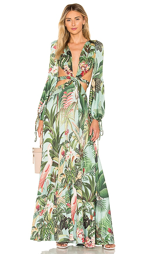 Paradise Print Cutout Gown