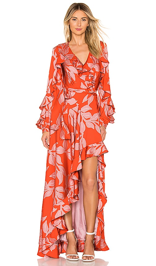 Leaf Print Ruffle Sleeve Maxi Dress