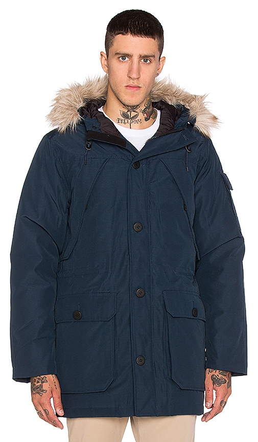 Penfield Hoosac Hooded Down Mountain Parka with Faux Fur in Navy