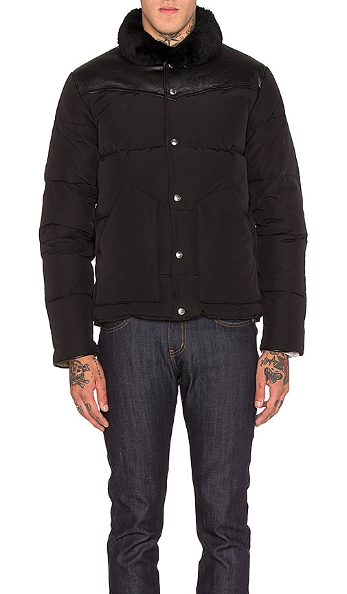 Penfield Rockwool Leather and Shearling Yoke Down Jacket in Black
