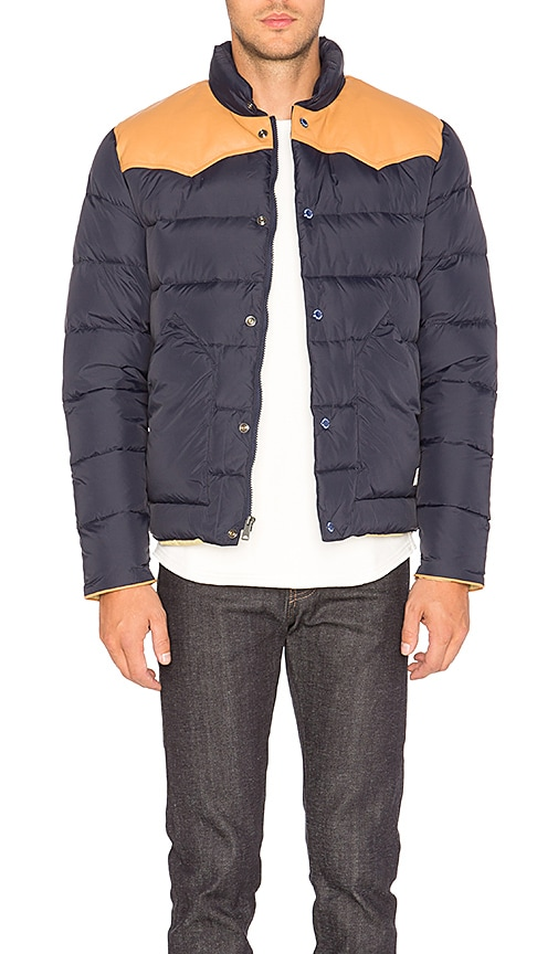 Penfield Pelam Leather Yoke Down Jacket in Navy