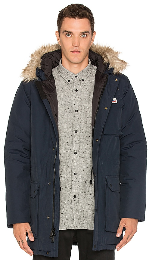 Penfield Lexington Faux Fur Trim Hooded Mountain Parka in Blue