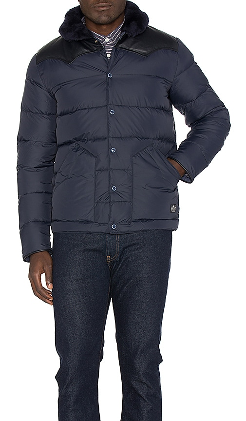 Penfield Rockwool Leather and Shearling Yoke Down Jacket in Navy